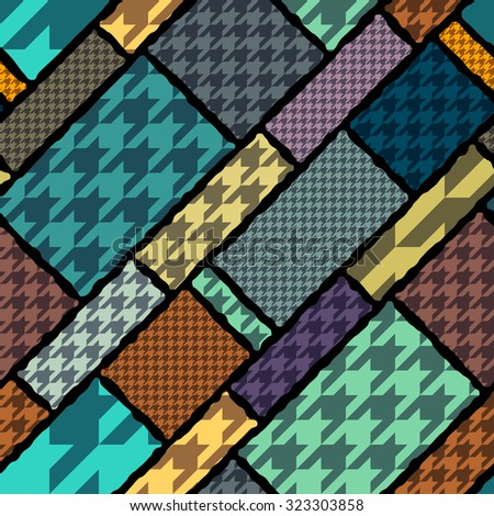 Seamless background pattern. Houndstooth geometric pattern on geometric background. - stock vector