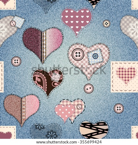 Seamless background pattern. Jeans fabric texture with a hearts in scrapbook style. - stock vector
