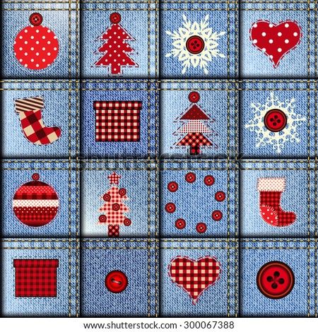 Seamless background pattern. Jeans patchwork with applique. Christmas background. - stock vector