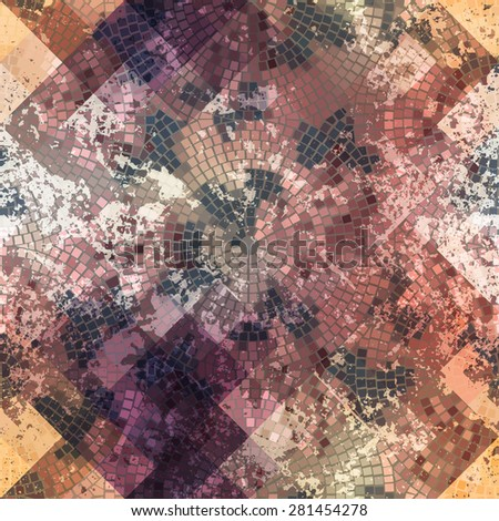 Seamless background pattern. Mosaic with roses and grunge effect. - stock vector