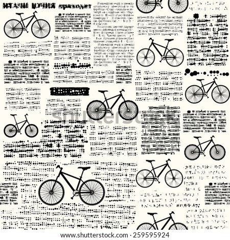 Seamless background pattern. Newspaper with different classic bikes. Illustration Vector. - stock vector