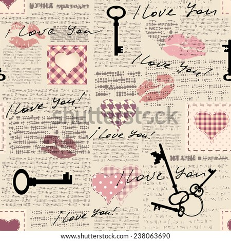 Seamless background pattern. Newspaper with inscriptions I love you and hearts in scrapbook style. - stock vector