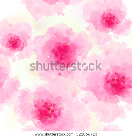 Seamless background pattern of delicate pink Sakura blossom or Japanese flowering cherry symbolic of Spring in a random arrangement on a white background. Watercolor imitation.