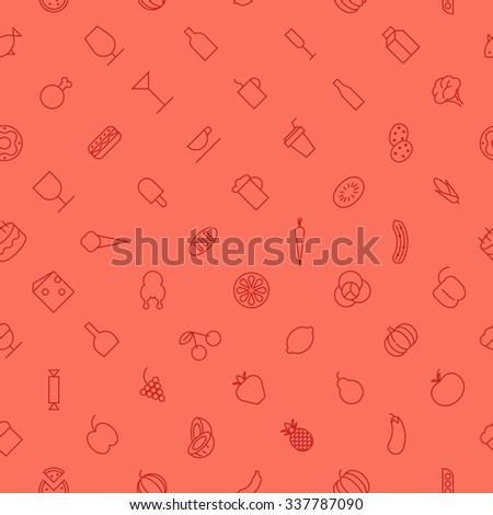 Seamless background pattern of food and drinks made of thin line icons. Vector illustration. - stock vector