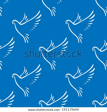 Seamless background pattern of graceful flying doves of peace on a blue background in square format - stock vector