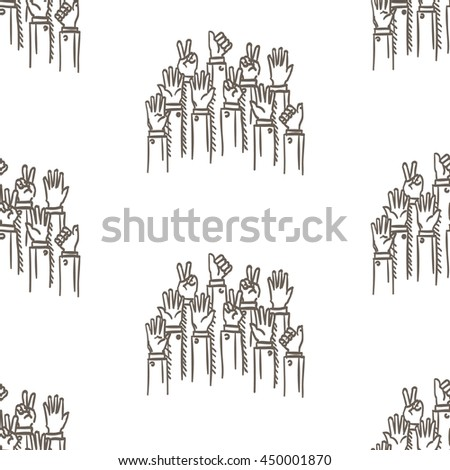 Seamless background pattern of hands. Vector illustration