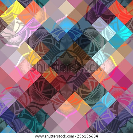 Seamless background pattern of mandala symbols on multicolor pixels background. - stock vector