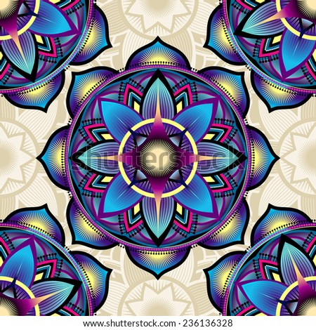 Seamless background pattern of mandala symbols with lotus petals. - stock vector