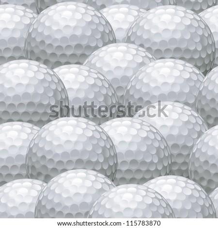 seamless background pattern of multiple white golf balls - stock vector