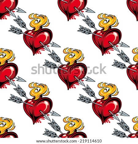 Seamless background pattern of red valentine hearts, arrow and fire - stock vector