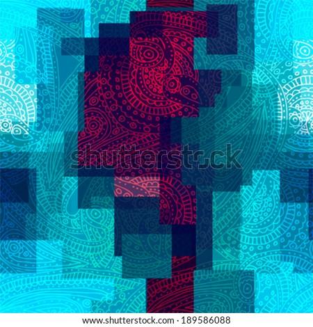 Seamless background pattern. Paisley pattern on geometric background. - stock vector