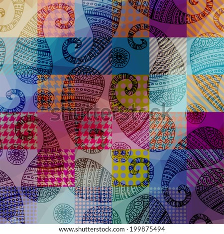 Seamless background pattern. Paisley pattern on plaid geometric background. - stock vector
