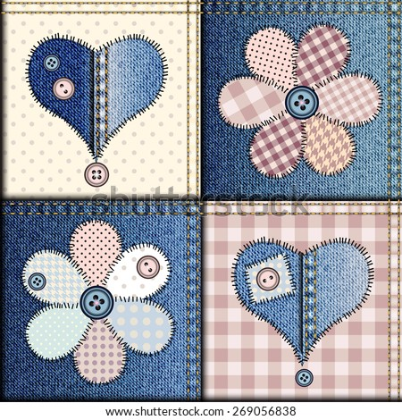 Seamless background pattern. Patchwork of denim fabric with applique of flowers and hearts. - stock vector