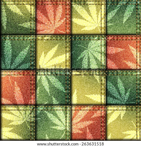 Seamless background pattern. Patchwork of denim fabric with hemp leaves. - stock vector