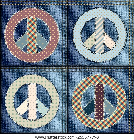 Seamless background pattern. Patchwork of denim fabric with signs of pacifics. - stock vector
