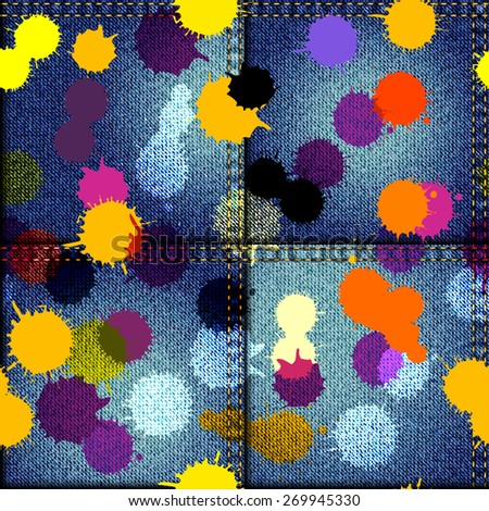 Seamless background pattern. Patchwork of denim fabric with stains paints - stock vector