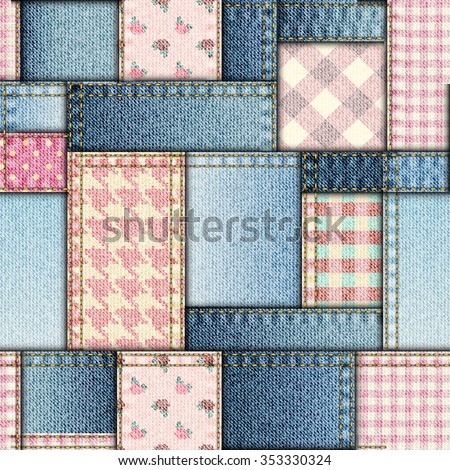 Seamless background pattern. Patchwork of pink and jeans fabric. - stock vector