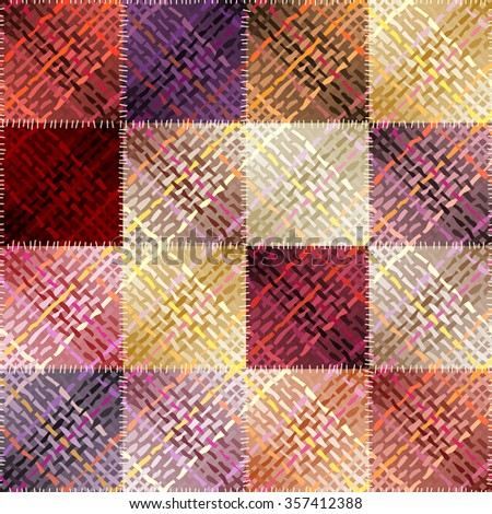 Seamless background pattern. Patchwork pattern with abstract diagonal plaid pattern. - stock vector