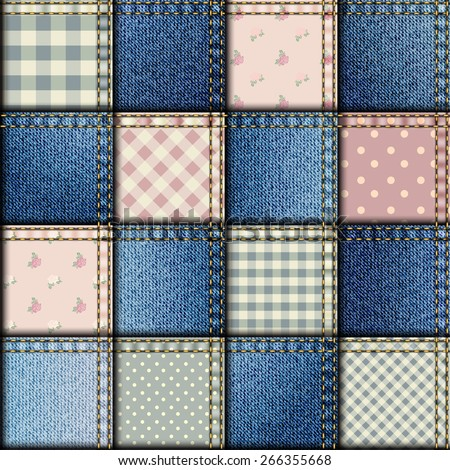 Seamless background pattern. Patchwork with denim fabric patches. - stock vector