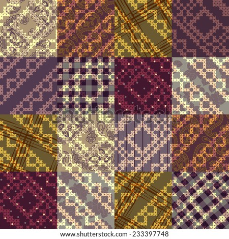 Seamless background pattern. Patchwork with embroidery pattern.