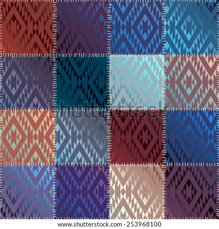Seamless background pattern. Patchwork with geometric ornament and satin effect. - stock vector