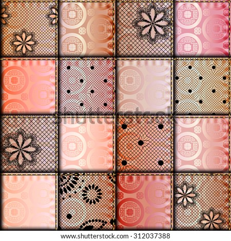 Seamless background pattern. Patchwork with satin fabric patches. - stock vector