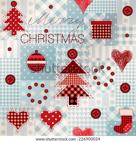 Seamless background pattern. Pattern in patchwork style Merry Christmas.  - stock vector