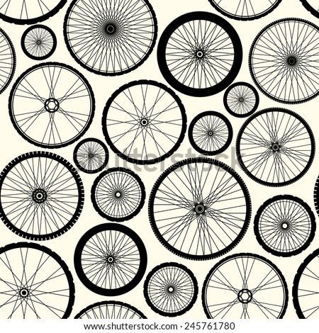 Seamless background pattern. Pattern of bicycle wheels. - stock vector