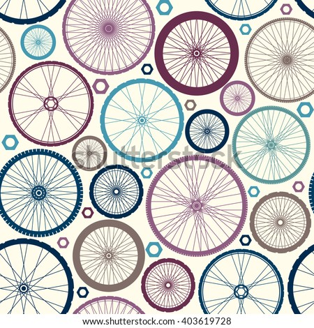 Seamless background pattern. Pattern of bicycles. - stock vector