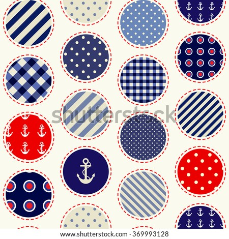 Seamless background pattern. Polka dot pattern in nautical patchwork style. - stock vector