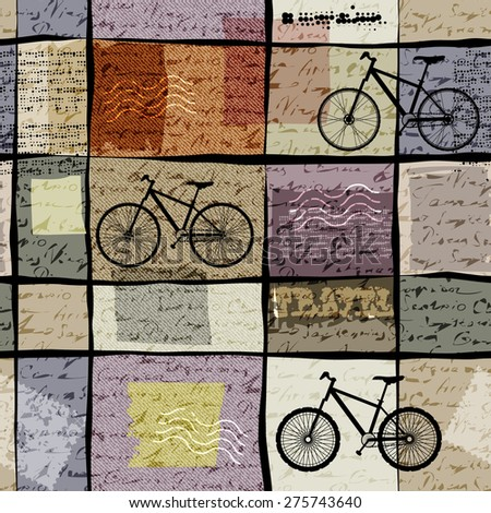Seamless background pattern. Retro travel pattern with inscriptions and bikes - stock vector