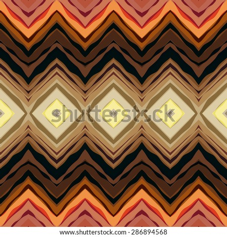 Seamless background pattern. Symmetric chevrons in tribal style. - stock vector