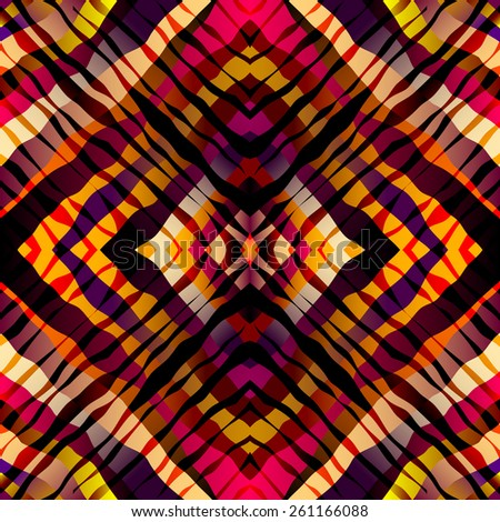 Seamless background pattern. Symmetric exotic pattern, red strips. - stock vector
