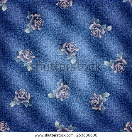Seamless background pattern. Texture of denim fabric. - stock vector
