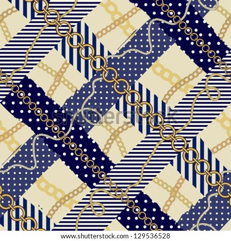 Seamless background pattern. Will tile endlessly. Checkered fashionable pattern in nautical style