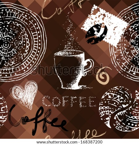 Seamless background pattern. Will tile endlessly. Coffee grunge pattern on polygonal background - stock vector