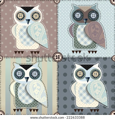 Seamless background pattern. Will tile endlessly. Patchwork with owls. - stock vector