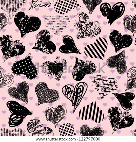 Seamless background pattern. Will tile endlessly. Set of grunge hearts - stock vector