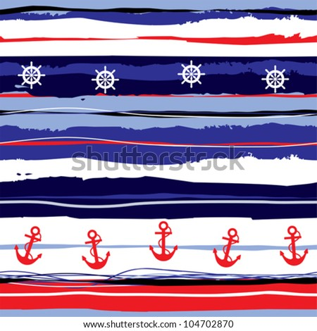Seamless background pattern. Will tile endlessly. Striped pattern in sea style. - stock vector