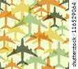 Seamless background pattern with airplanes. Vector illustration (eps10). - stock vector