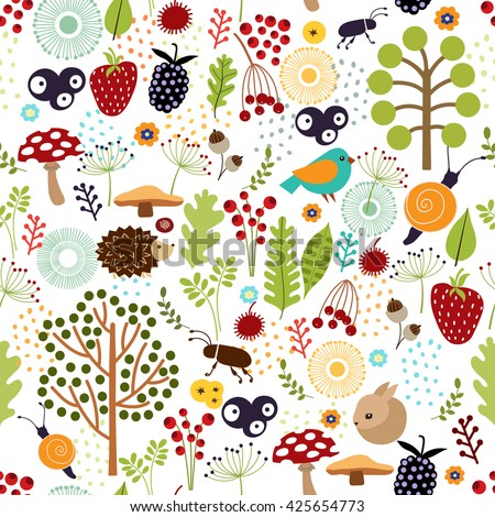 Seamless background. Pattern with animals, trees, leaves, berries and nature elements