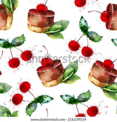 Seamless background . Pattern with cakes and cherries. Vector illustration - stock vector