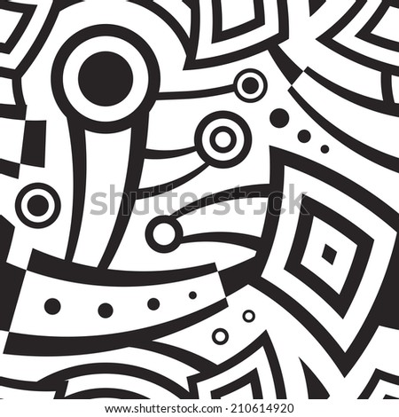 Seamless Background Pattern, with circles and curved lines. Black and White Abstract Composition - stock vector