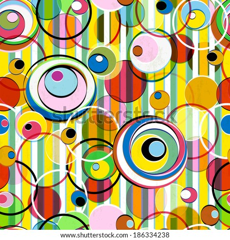 seamless background pattern, with circles  and stripes, summer color - stock vector