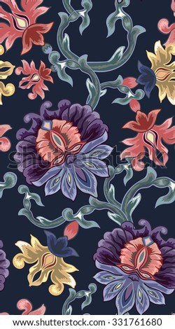 Seamless background. Pattern with decorative ornament in Oriental style.