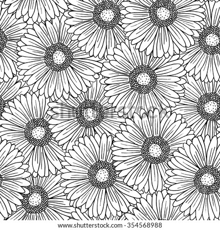 Seamless background pattern with hand drawn gerbera flowers - stock vector