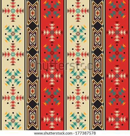 Seamless background pattern with Navaho style motif - stock vector