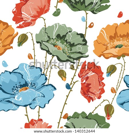 Seamless background poppy. Beautiful illustration texture - stock vector