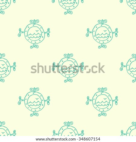 Seamless background, portholes with sea and seagull  - stock vector