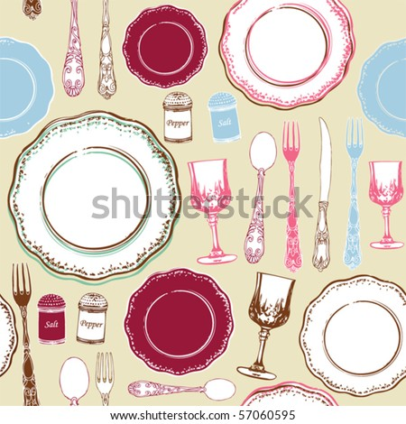seamless background retro kitchen - stock vector